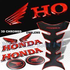 CHROMED RED+BLACK PRO GRIP TANK PAD+3D WING+HONDA LETTER EMBLEM+BADGE STICKER
