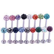 Stainless Steel Shamballa Crystal Disco Ferido Ball Lip Labret Body Piercing