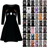 Womens Ladies Halloween Costume Scary Cat Face Party Smock Flared Swing Dress