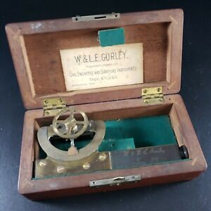 Vintage W & LE Gurley Troy NY Sighting Level Handheld in Wood Box, Great Cond.