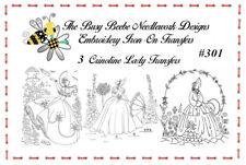 #301 - 3 Crinoline Ladies Lady Garden Gal Belle Embroidery Iron-On Transfers