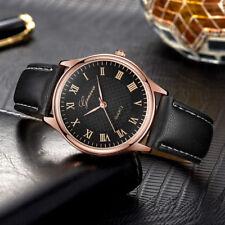 Ladies Fashion Classic Rose Gold Geneva Quartz Roman Black Band Wrist Watch.