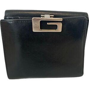 Mens Vintage GUCCI Black Genuine Leather Logo Clasp Wallet 12 x 11 x 2cm  - H68