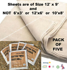 COTTON DUST SHEET LARGE SIZE EXTRA HEAVY DUTY TWILL 12FT x 9FT (** PACK OF 5** )