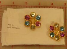 """2 Lg Czech Multi Matte Gold Metal Rhinestone Shank Buttons Pink Blue 1.25"""" #707"""