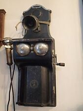 ANTIQUE early 1900 ERICSSON BLACK METAL COMPLETE WALL TELEPHONE SWEDEN - NICE