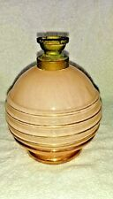 """Vintage Peach Perfume glass bottle scent painted on the inside with gold 5"""" tall"""