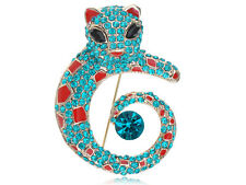 Paint Pin Fashion Costume Pin Brooch Clear Blue Aqua Crystal Cat Leopard Enamel