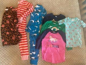 Lot of 9 Hanna Andersson Girl Size 120 US 6-7 Dress 2 Sets Long PJs 3 Long Shirt