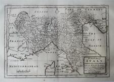 NORTH PART OF ITALY - Finely Engraved Original Antique Herman Moll Map, 1739