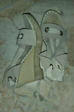 """""""Very Volatile"""" Women's Nude Strapped Wedges (size 9)"""
