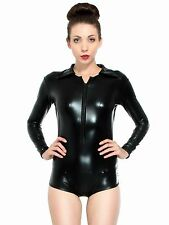 Womens Long Sleeve Stretch Japanned Leather Bodysuit Leotard Body Top Tshirt