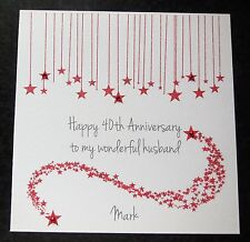 Personalised Handmade On Our 40th Ruby Wedding Anniversary Card -Husband -Wife