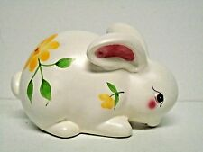"Vintage Ceramic Hand Painted Rabbit Figurine 4"" Tall 6.25"" Long Ex. Vntg. Cond."