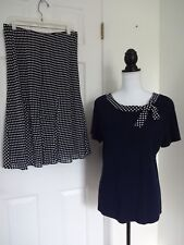BERKERTEX Women's NAVY & WHITE POLKA DOT Skirt Set NWOT