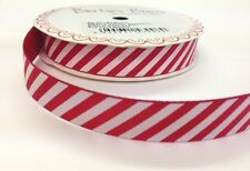 5m Bertie's Bows Candy Stripe 16mm Red Grosgrain Ribbon, Christmas, Wrap