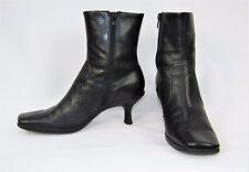 NINE WEST Black Leather Hipster Zipper Ankle Boots Size 7 1/2 M US 38 EU