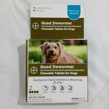 Bayer Quad Dewormer Chewable Tablets for Dogs 26-60 Medium 2 Ct Exp. 4/23