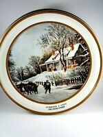 """Vintage Currier and Ives The Snow Storm Tin 10""""x3"""""""