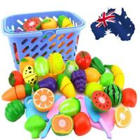 AU 23 kinds Plastic Cutting Fruits and Vegetables Set Pretend Play Toys for Kids