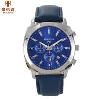 HOLUNS Waterproof Luminous Men's Military Quartz Leather Band Wrist Watch Gift
