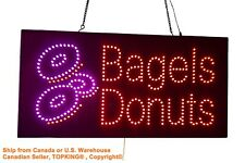 Donuts Bagels Sign, TOPKING Signage, LED Neon Open, Store, Window, Shop, Display