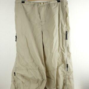 Vintage Nike ACG Nylon Hiking Pants Large Tan Nylon Bungee Loose Zippers Baggy
