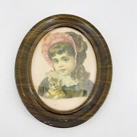 Antique Victorian Die Cut Girl with Cat Kitten Hat Bonnet 1880s-1890s Framed
