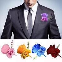 Mens Party Boutonniere Bridegroom Silk Flower Wedding Artificial Rose Corsage US