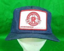 Vtg USA Made Robinson Industries Denim Hat w Patch Snapback Trucker Mesh Cap da8d459c4ca9