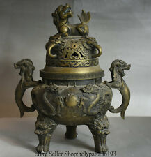 """13"""" Marked Old Chinese Copper Dynasty Fly Dragon Lion Ears Handle 3 Foot Censer"""