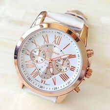 Women's Watch Lady Roman Numerals Leather Band Analog Quartz Watch White