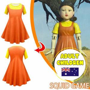 SQUID GAME Robot Doll Kids Girls Jumpsuit Cosplay Costume Fancy Dress Halloween