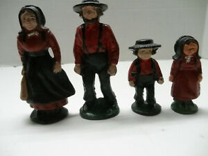 4 Piece Cast Iron Amish Family Figurines Man, Woman, Girl & Boy Decorative Red