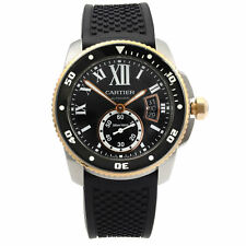 Cartier de calibre de acero de oro amarillo 18K Dial Negro Reloj Automático Para hombres W7100055
