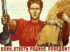 WAR PROPAGANDA WW2 PEASANT WARRIOR MOTHERLAND SOVIET UNION VINTAGE POSTER 2751PY