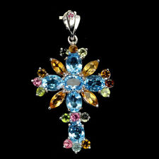 Oval Swiss Blue Topaz Citrine Ruby Tourmaline 925 Sterling Silver Cross Pendant
