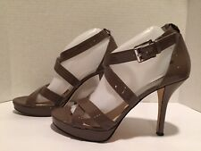 Michael Kors Strappy Sandals Heel Patent Leather Platform Taupe 10 M