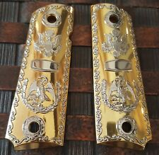 1911 Grips For Kimber / Colt / ROCK ISLAND Frames Mexican Eagle Gold Plated