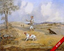 1800'S ENGLISH GENTLEMAN PARTRIDGE HUNTING W DOGS PAINTING ART REAL CANVAS PRINT