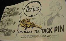 VINTAGE BEATLES 1964 guitar TIE TACK PIN 60's CARD art photo John Lennon signed
