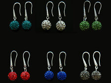 Shamballa Crystal Disco Ball Drop Earrings White, Red, Blue, Pink, Black E259