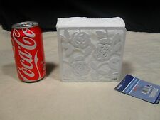 Brand New ~ Rose Bud Cutout Design ~ Metal Napkin Holder ~ White