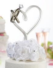 Cake topper cuore anello nuziale brillante matrimonio torta fedi nuziali oro