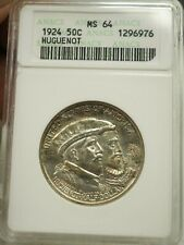 1924 Huguenot Commemorative Silver Half Dollar -ANACS MS 64 - #6976