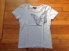 T-shirt gris Caroll Taille 40 motif papillon manches courtes