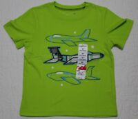 NEW JUMPING BEANS BOYS TODDLER TEE SHIRT TSHIRT LIME GREEN AIRPLANES SZ 2T 3T