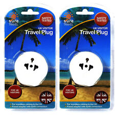2 X EU Euro, Estados Unidos de viaje seguro a Reino Unido de 3 Pines Adaptador De Enchufe Convertidor De Viaje