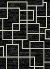 Maze Area Rug Modern Contemporary Squares Geometric Black Cream 5X7 8X10