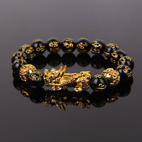 Feng Shui Black Obsidian Alloy Wealth Bracelet Attract Wealth & Good Luck Gift